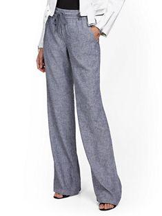 Linen-Blend Wide-Leg Pant - Soho Street - New York & Company Linen Pants Outfit, Yoga Pants Outfit, Grey Dress Pants, Cool Outfits, Summer Outfits, Summer Clothes, Casual Outfits, Boyfriend Pants, Plus Size Workout