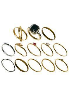 Immagine 1 di ASOS - Confezione di anelli fingertip in stile vintage