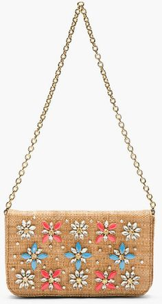 Dolce & Gabbana Brown Brown Woven and Embellished Natural Clutch