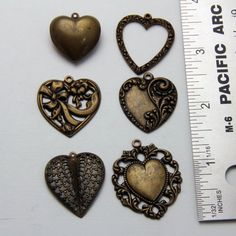 6 Vintage Metal Heart Charms Pendants by oscarcrow on Etsy