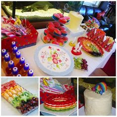 Our rainbow party food table