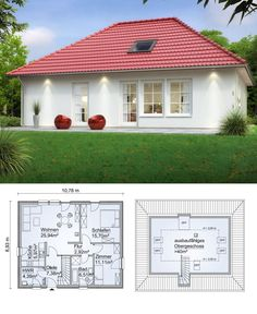 Modern country house bungalow with extension reserve in the attic & hipped roof architecture – house build ideas plan prefabricated house SH 80 B PLUS 40 from ScanHaus Marlow – HausbauDirekt. Modern Bungalow House, Bungalow House Plans, Small House Plans, Tiny House, Modern Architecture Design, Roof Architecture, Stommel Haus, Country Modern Home, House Construction Plan