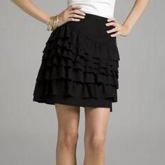 Banana Republic ruffle skirt and white T