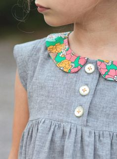 love this floral peter pan collar / gray dress combo // lbg studio Fashion Kids, Little Girl Fashion, Little Girl Dresses, Girls Dresses, Sewing Kids Clothes, Sewing For Kids, Baby Sewing, Geranium Dress, Diy Couture