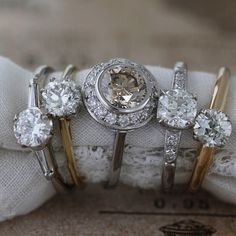Look at the new girls in town! Check out the site, schedule a virtual appointment, or come by the showroom and you can see these and many, many more.  Eclectic Wedding, Deco Engagement Ring, European Cut Diamonds, Showroom, Diamond Cuts, Wedding Bands, Diamond Earrings, Art Deco, Wedding Inspiration