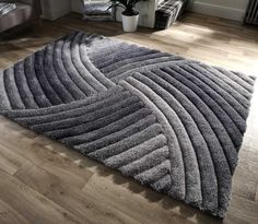 Verge Furrow Grey Rugs Modern