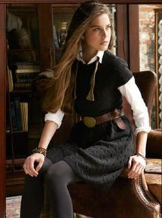 Fall outfit: white button down + black shirt + tweed skirt + tights