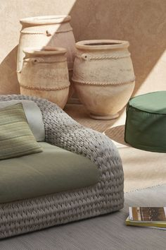 Manutti // Outdoor lounge chair with cushion. Rope tells a story. That of the craftsmen who worked many hours to weave the soft curves of the Kobo lounge chair - Kobo Collection #outdoorfurniture #outdoorluxury Patio Lounge Chairs, Outdoor Chairs, Sofa Furniture, Outdoor Furniture, Outdoor Loungers, Luxury Living, Armchair, Cushions, Sofas