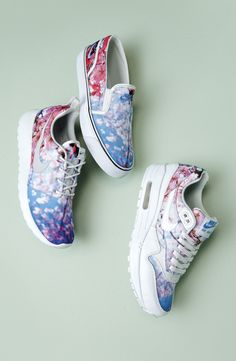 Nike Cherry Blossom Print Sneakers - pretty walking shoes for travel Leopard Print Slip On Sneakers, Slip On Shoes, Air Max 1, Nike Air Max, Nike Roshe Run, Latest Shoes, Nike Shoes Outlet, Platform Sneakers, Shoes Sneakers
