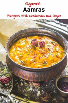 Aamras is a famous Gujarati and Maharashtrian dish made by pureeing ripe mangoes with sugar, cardamom powder. Aamras and piping hot poories taste heavenly! Here is how to make Aamras at home. North Indian Recipes, Indian Food Recipes, Vegetarian Recipes, Cooking Recipes, Mango Recipes Indian, Sweets Recipes, Easy Recipes, Ginger Chutney Recipe, Chutney Recipes