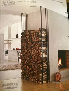 Kul oppbevaring av ved Firewood, New Homes, Cabin, Drink, Projects, House, Food, Decor, Diy Room Decor