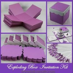 Exploding Box with Cake Invitation DIY Kit. This is a listing for the basic parts in making unique Exploding Box Invitations for Weddings, Quinceañera or Sweet 16 Birthday. Box Invitations, Invitation Kits, Quince Invitations, Quinceanera Invitations, Explosion Box, Diy Gift Box, Diy Box, Boite Explosive, Diy Paper
