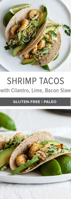 These shrimp tacos with cilantro, lime, bacon slaw are a flavor explosion. The spicy chipotle shrimp are perfectly balanced with the slaw and avocado. With so much flavor, I guarantee you'll make this shrimp taco recipe again and again!