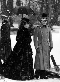 """Helmut Berger & Romy Schneider in the snow...""""Ludwig"""" - Visconti - 1972"""