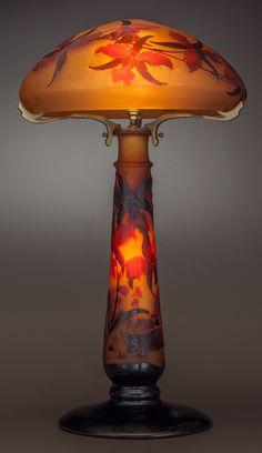 Image of GALLÉ OVERLAY GLASS IRIS STUDY LAMP, circa 1900.. Marks: Gallé   LotID #41001   Heritage Auctions