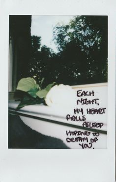 """haleyincarnate: """" Each night, my heart falls asleep hoping to dream of you. Polaroid Quotes, Polaroid Pictures, Polaroids, Aesthetic Words, Aesthetic Pictures, Mood Quotes, Life Quotes, All The Bright Places, Pretty Words"""
