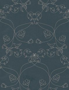 Pajaros (1969-3) - Tres Tintas Wallpapers - A stylised circular floral trail in a symmetric design with small birds shown with a navy blue background and metallic silver detailing. A washable wallcovering by Spanish designers.