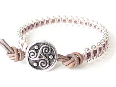 Triskele button bracelet with sterling silver beads, leather wrap in light grey and baby pink, gifts for friends, UK bracelet shop