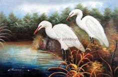 Painting: White Heron Egret Pair Bird Florida Everglades Stretched Oil On Canvas Painting