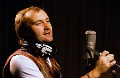 Singer and drummer Phil Collins wears headphones around his neck while in a recording studio. Peter Gabriel, Phil Collins, Famous Aquarians, Charles Collins, Recording Studio, Soul Music, My Favorite Music, Oprah, S Star