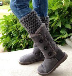 Crochet Leg Warmers, Boot Cuffs for Uggs, Charcoal Gray, Choose Your Color, Chunky, Birthday Gifts for Teens, Girls, Handmade, LEGJE407C. $22.00, via Etsy. LOVE it UGG fashion This is my dream , Click the link for best price UGG .