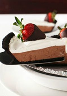Chocolate-Dipped Strawberry Pie — Let's take this easy pie from the bottom: a chocolate cookie crust, layers of chocolate and whipped topping, and chocolate-dipped strawberries on top.