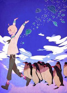 Tsuritama - Haru and penguins?