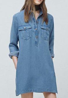 Mango - LOU - Robe en jean - light blue