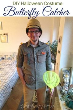 DIY Butterfly Catcher Halloween Costume. This idea works great as the male part of a couples costume with the woman being a butterfly. Click for tutorials for both costume ideas!!! #craftifymylove #halloweencostume #butterflycatcher #butterflycostume #cos