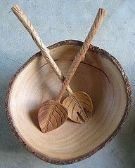 Acacia wood salad set with leaf motif fork and spoon.