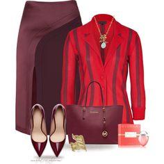 """* HAKAAN Bordeaux Pencil Skirt *"" by hrfost1210 on Polyvore"