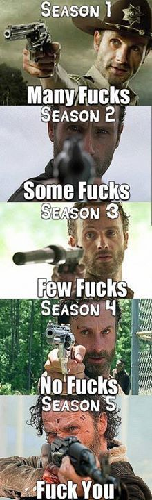 How many f*cks given, by season. || The Walking Dead