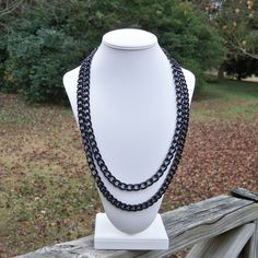 Brit   Long Modern Chunky Black Chain Necklace  Can Be by Tessyla, $58.50