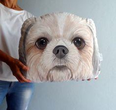 Shih Tzu Dog Pillow, Custom Pet Portrait  Plush Pillow -XL SIZE , Personalized  gift for pet lovers