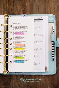 Menu Planning in a Planner via A Bowl Full of Lemons