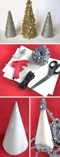Table Top Tinsel Tree | Click Pic for 18 DIY Christmas Table Centerpiece Ideas…