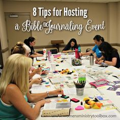 Thinking of hosting a Bible journaling event? I share tips and ideas for hosting a successful Bible journaling event at your church. No craft skills needed! Church Ministry, Youth Ministry, Ministry Ideas, Ministry Leadership, Christian Women's Ministry, Christian Life, Womens Ministry Events, Template Web, Church Events