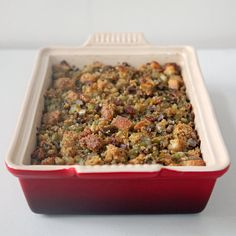 A Top-Notch Chestnut Cornbread Stuffing Recipe-- butter-rich; bacon- and chestnut-enhanced; and ridiculously, sinfully delicious