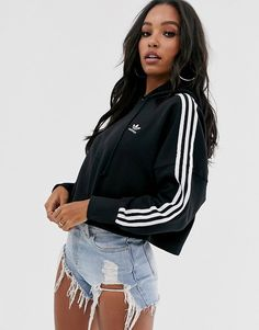 Order adidas Originals adicolor cropped hoodie in black online today at ASOS for fast delivery, multiple payment options and hassle-free returns (Ts&Cs apply). Get the latest trends with ASOS. Sweatshirt Outfit, Cropped Hoodie Outfit, Cropped Sweater, Adidas Jacket Outfit, Adidas Cropped Hoodie, Adidas Trefoil Hoodie, Asos, Hoodie Sweatshirts, Sporty Outfits
