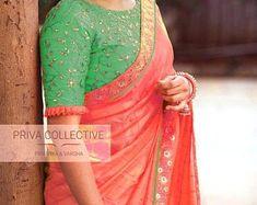 Saree Blouse Neck Designs, Saree Blouse Patterns, Fancy Blouse Designs, Bridal Blouse Designs, Sari Design, Viria, Indische Sarees, Peach Saree, Red Saree