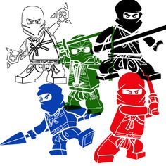 ALL 5 Lego Ninjagos vinyl decal for your wall in their colors. $60.00, via Etsy.