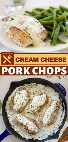 Cream Cheese Pork Chops is a delicious pork recipe for dinner ready in under 30 minutes! The pork chops are cooked perfectly in a skillet and then coated in a cream cheese mixture. Pin this homemade and easy dinner idea! Pork Chops And Gravy, Skillet Pork Chops, Fried Pork Chops, Baked Pork, Supper Recipes, Pork Recipes For Dinner, Supper Ideas, Dinner Ideas, Food Dishes