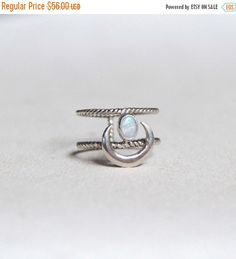 BLACK FRIDAY White Opal Crescent Moon Ring Solid by DonBiuSilver