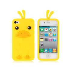 Cartoon Chick Pattern Silicone Protective Case for iPhone 4/4S (Yellow)