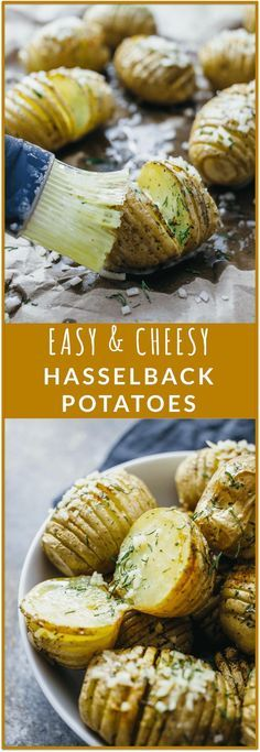 Hasselback potatoes with cheese - Youll love these mini hasselback potatoes with cheese that are loaded with parmesan crumbles, herbs, cayenne (of course its spicy!), and butter. This is an easy and tasty recipe for fast baked potatoes that are as beaut