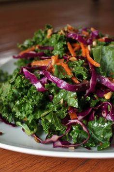 Kale and Purple Cabbage Salad Recipe - ZipList Purple Cabbage Salad Recipe, Cabbage Salad Recipes, Kale Recipes, Ww Recipes, Cooking Recipes, Healthy Recipes, Cabbage Slaw, Paleo Side Dishes, Side Dish Recipes