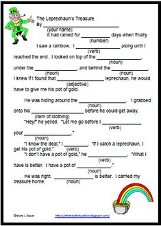 Classroom Freebies Too: Fill in the Blank Story: The Leprechaun's Treasure