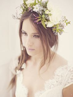 30 Beautiful Boho Flower Crowns + DIY Tutorials   Bridal Musings   A Chic and Unique Wedding Blog                            She wore flowers in her hair.