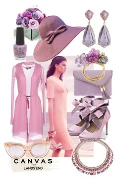 """Paint your look in pastels 🌸"" by lulala002 ❤ liked on Polyvore featuring Lands' End, Liam Fahy, Kendra Scott, Henri Bendel, Le Specs, OPI, NOVICA and Twin-Set"