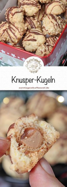 These crispy balls are very easy to make and have a tasty surprise inside. No Bake Desserts, Delicious Desserts, Dessert Recipes, Yummy Food, Cupcakes, Cake Cookies, Baking Recipes, Cookie Recipes, Sweet Pastries